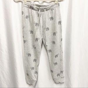 Artisan NY Gray Elephant Print Cropped Sweatpants